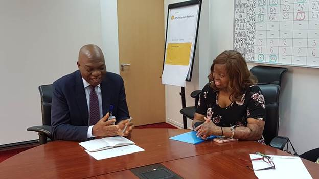 L-R: Managing Director, The Shell Petroleum Development Company of Nigeria Limited and Country Chair, Shell Companies in Nigeria, Osagie Okunbor and Kechi Okwuchi, survivor of the 2005 Sosoliso plane crash during a 'Thank You' visit to SPDC.