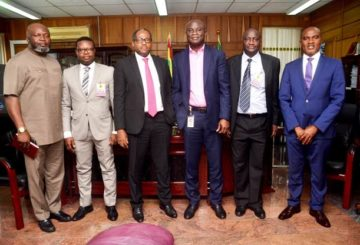 L - R: General Manager Commercial, Nigeria Gas Processing and Transport Company (NGPTC), Justin Ezeala; Business Development Manager, Shell Nigeria Gas (SNG), James Makinde; Managing Director SNG, Ed Ubong; Managing Director NGPTC, Babatunde Bakare; Social Performance Discipline Adviser, SNG, Babatunde Olaleke; and General Manager, NGPTC, Nnamdi Nwachukwu, during a recent visit to the NGPTC in Warri, Delta State to discuss opportunities to further improve Nigeria's domestic gas utilisation to industries and manufacturing clusters.
