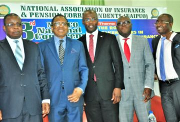 L-R: Mr. Lana Loyinmi, Head Contribution & Bond Redemption, National Pension Commission; Alhaji Bala Zakariya'u, past president, Chartered Insurance Institute of Nigeria and Chairman of occasion; Mr Moruf Apampa, Managing Director/CEO, SUNU Assurance Plc; Mr Adebayo Adeleke, Managing Director, Lancelot Ventures Ltd, and Mr. Supo Sogolola, Executive Director, Law Union & Rock Insurance, during the 3rd Annual National Conference of the National Association of Insurance and Pension Correspondents (NAIPCO) on The Role of Stakeholders in Developing Insurance and Pension Sectors held in Lagos on Thursday. August 09, 2018.