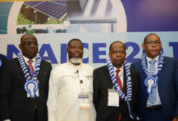 L-R; Managing Director, Shell Nigeria Exploration and Production Company, Bayo Ojulari; Chief Operating Officer, Upstream of Nigeria National Petroleum Corporation, Bello Rabiu; Vice Chairman/CEO, Emerald Energy Resources, Jude Amaefule; outgoing Chairman, Nigeria Council of the Society of Petroleum Engineers, Chikezie Nwozu, after a panel Session at the SPE Annual Conference and Exhibition in Lagos …on Wednesday