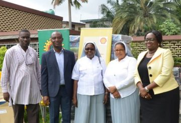 L-R: Social Performance Adviser, Shell Nigeria Exploration and Production Company (SNEPCo), Hope Nuka; SNEPCo Non-Operated Venture Manager, Segun Owolabi; the Principal, Pacelli School for the Blind and Partially Sighted Children, Sister Jane Onyeneri; Sister Eucharia Uwakwe; and SNEPCo's Communications Manager, Olusola Abulu, during the donation of furniture items to Pacelli School for the Blind and Partially Sighted Children in Lagos ...on Friday