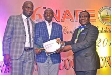 L-R: Exploration Manager Deepwater, Shell Nigeria Exploration and Production Company (SNEPCo), Uche Johnbosco; Lead, Subsurface Shallow Water, SNEPCo, Kefe Amrasa; and the outgoing President, Nigerian Association of Petroleum Explorationists (NAPE), Andrew Ejayeriese at the presentation of 2nd Best Exhibitor Award to Shell at the just-concluded NAPE annual conference and exhibition in Lagos…