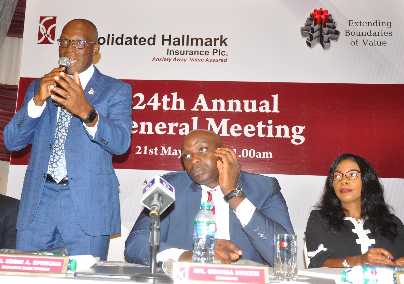 L-R: Mr. Eddie Efekoha, Managing Director/CEO, Consolidated Hallmark Insurance (CHI) Plc; Mr. Obinna Ekezie, Chairman Board and Mrs. Rukevwe Falana, Company Secretary/Legal Adviser