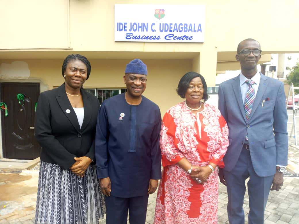 From right:Temutope Ande, PRO, NACCIMA Export Promotion Group, DG of NACCIMA, Ambassador Ayoola Olukanni, Outgoing President,Alaba Lawson, Member Export Promotion Group of NACCIMA, Oladapo Ande at the Ide John C. Uduagbala Business Centre at NACCIMA's head office in Lagos