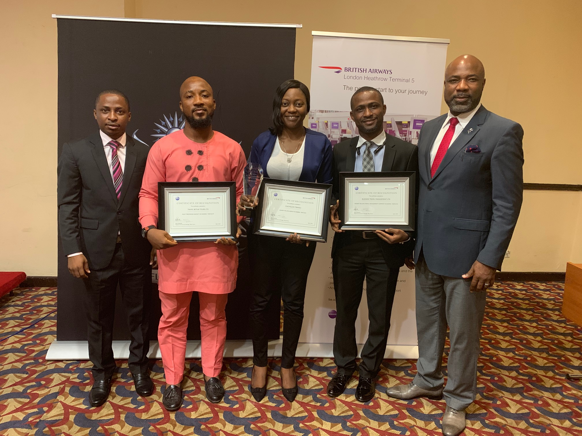 L-R: Bodunrin Olowolagba, British Airways Sales Manager Nigeria; Moses Adekoya, Deputy Operations Manager, Travel Beta & Tours LTD and Winner of Most Promising Agent so far in year 2019; Josephine Duyile, Head Finchglow Travels and Winner of the Highest Selling Agent in Nigeria and Highest selling agent to London 2018; Mutiu Badmus, General Manager Operations, Business Travel Management and Highest selling TMC in Nigeria 2018 and Ademola Sanya, British Airways Trade Sales Manager Nigeria during the award presentation at the Trade Event held in Lagos recently.