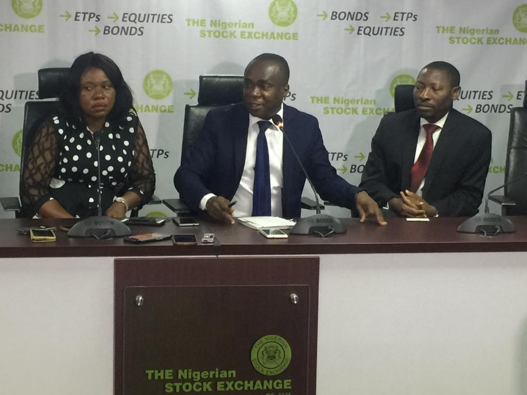 L-R: Chinyere Joel-Nwokeoma,  Chairman, Capital Market Correspondents  Association of Nigeria  (CAMCAN), Prof. Uche Uwaleke of Nasarawa State University Keffi and  Research Fellow, the Securities and Exchange  (SEC) and Mr Abimbola Babalola, Head, Marketing Surveillance and Investigation of the Nigerian Stock Exchange (NSE) at the 2019 First Quarter Forum of CAMCAN in Lagos.