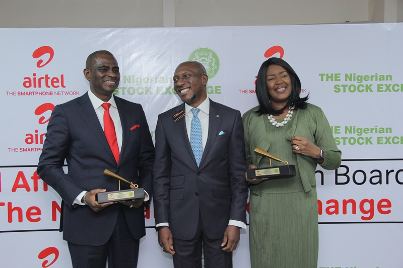 IMG_0545/0551: Segun Ogunsanya, CEO/ Managing Director, Airtel Nigeria; Oscar Onyema, Chief Executive Officer, Nigeria Stock Exchange and Awuneba Ajumogobia, Member, Airtel Africa Board at 'The NSE Gong' Plaque presentation to Airtel Africa during  Airtel Africa Listing  at the NSE Headquarters in Lagos  on Tuesday, July 9, 2019.