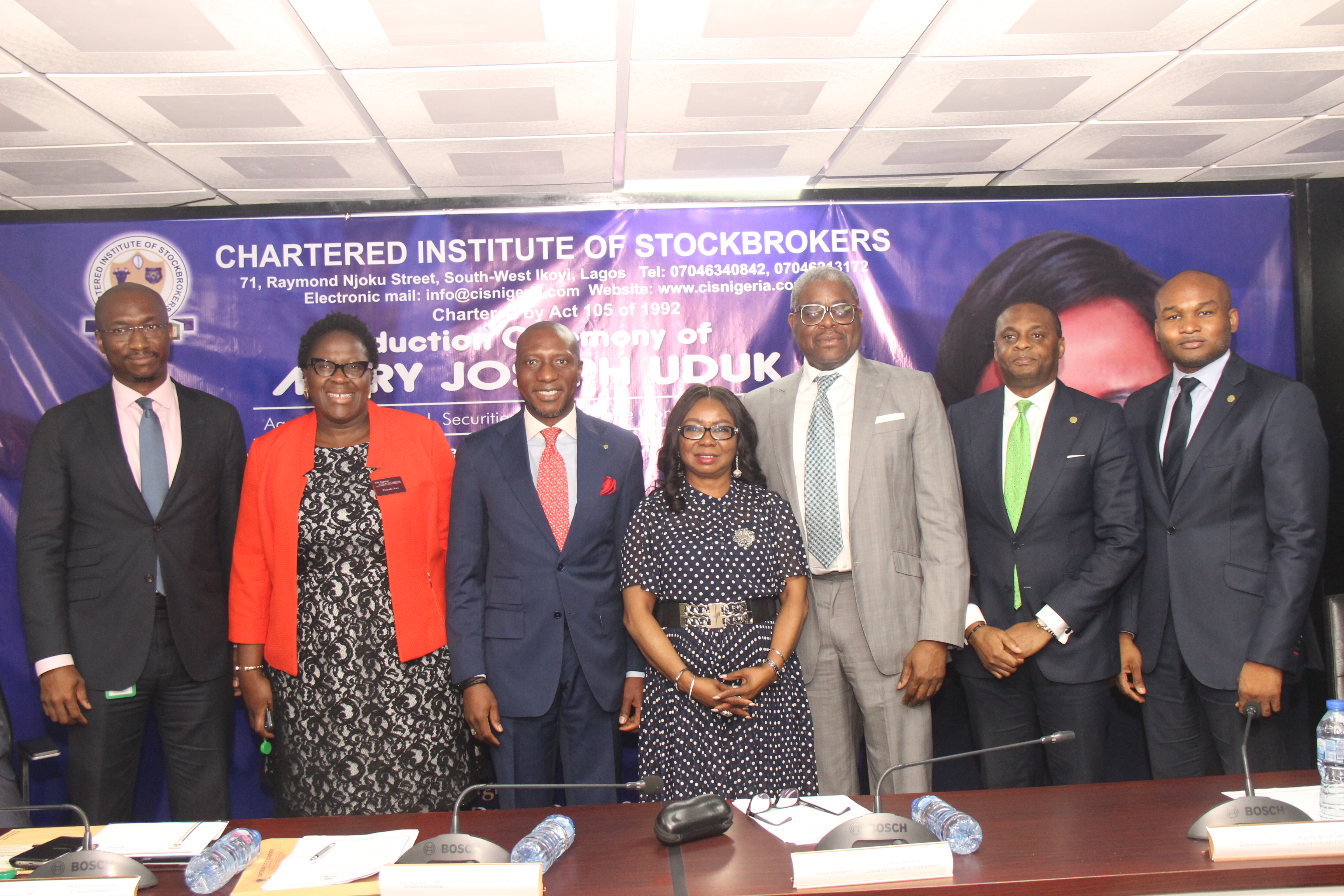 ·         L – R (A) shows Mr. Bola Adeeko, Head, Shared Services Division, The Nigerian Stock Exchange (NSE); Ms. Tinuade Awe, Executive Director, Regulation, NSE; Mr. Oscar N. Onyema, OON, Chief Executive Officer, NSE; Ms. Mary Uduk, Acting Director General, Securities and Exchange Commission (SEC); Otunba Abimbola Ogunbanjo, President, NSE; Mr. Jude Chiemeka, Divisional Head, Trading Business, NSE and Mr. Olumide Bolumole, Divisional Head, Listing Business, NSE during the induction ceremony of Ms. Mary Uduk, Acting Director General, SEC at the Exchange today in Lagos.