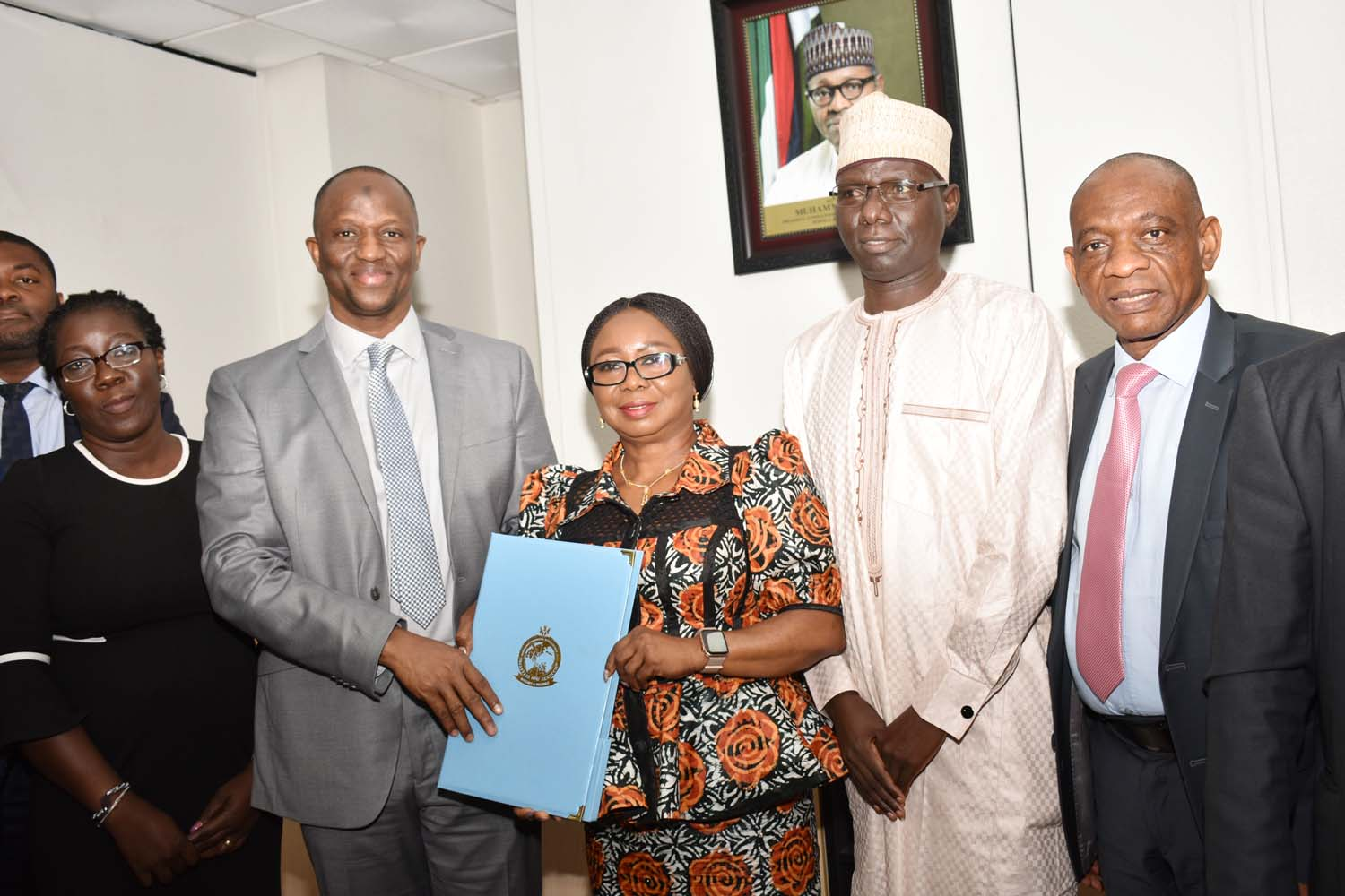 SEC, 3,  L-R, Associate Director, Analysis and Compliance, Nigerian Financial Intelligence Unit Mrs Fehintola Salisu, Director NFIU, Mr Modibbo Tukur, Acting, Director General, Securities and Exchange Commission Ms Mary Uduk, Acting Executive Commissioner, Operations, SEC  Mr Isyaku Tilde and Acting Executive Commissioner, Corporate Services , SEC Mr Henry Roland during a Meeting between SEC and NFIU in Abuja, Wednesday