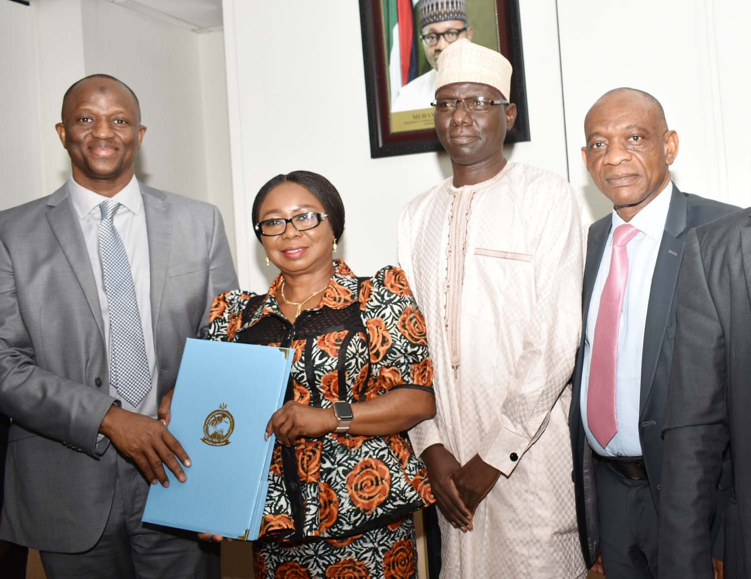 SEC, 1,  L-R,  Associate Director, Intelligence and Investigation Support, Nigerian Financial Intelligence Unit Mr Mustapha Abdulrahman, Director, NFIU Mr Modibbo Tukur, Acting, Director General, Securities and Exchange Commission, Ms Mary Uduk and Acting Executive Commissioner, Operations, SEC  Mr Isyaku Tilde during a Meeting between SEC and NFIU in Abuja, Wednesday
