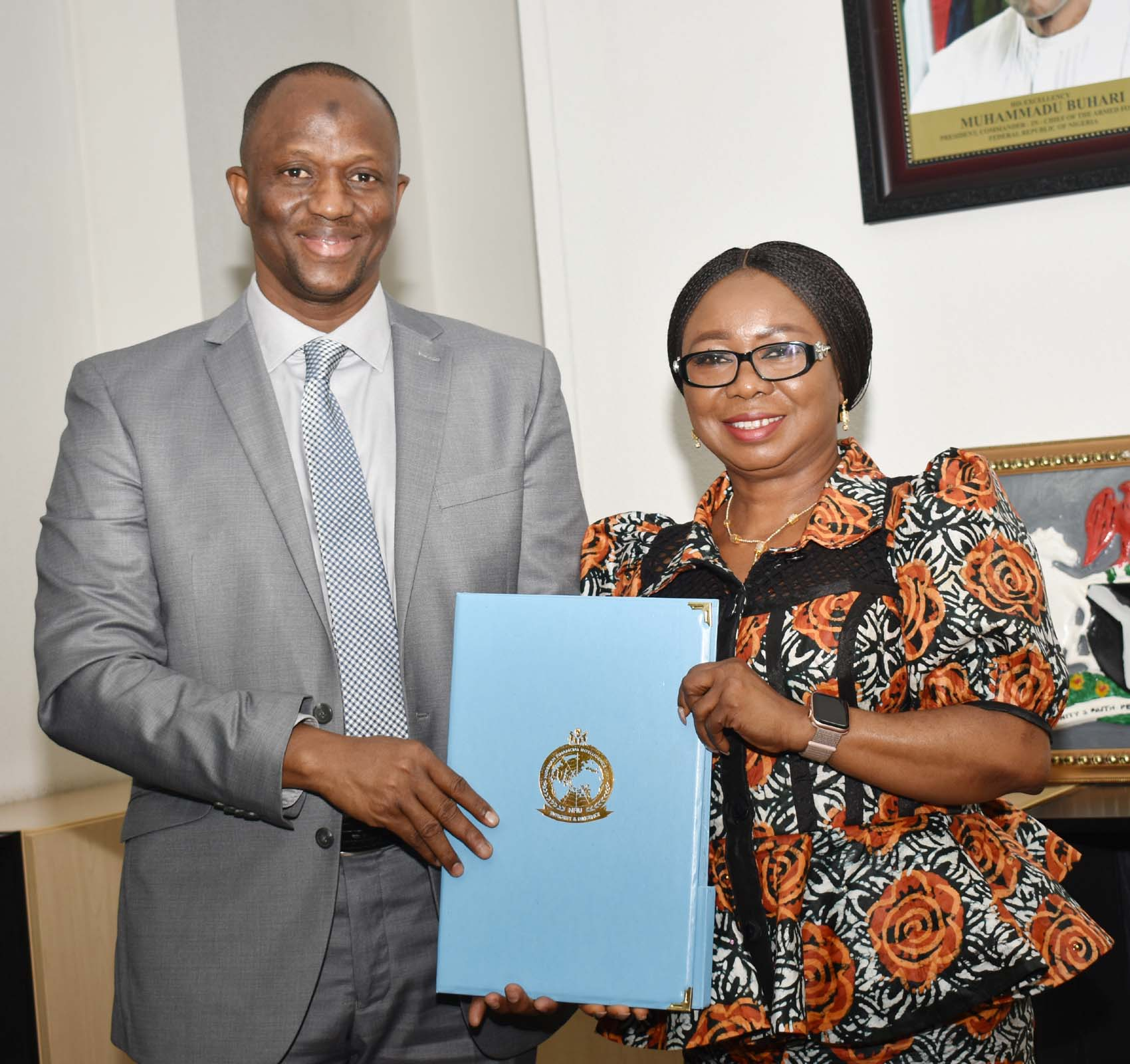 SEC,  8,9,9A, L-R,  Director, Nigerian Financial Intelligence Unit, Mr Modibbo Tukur with Acting, Director General, Securities and Exchange Commission, Ms Mary Uduk during a Meeting between SEC and NFIU in Abuja, Wednesday