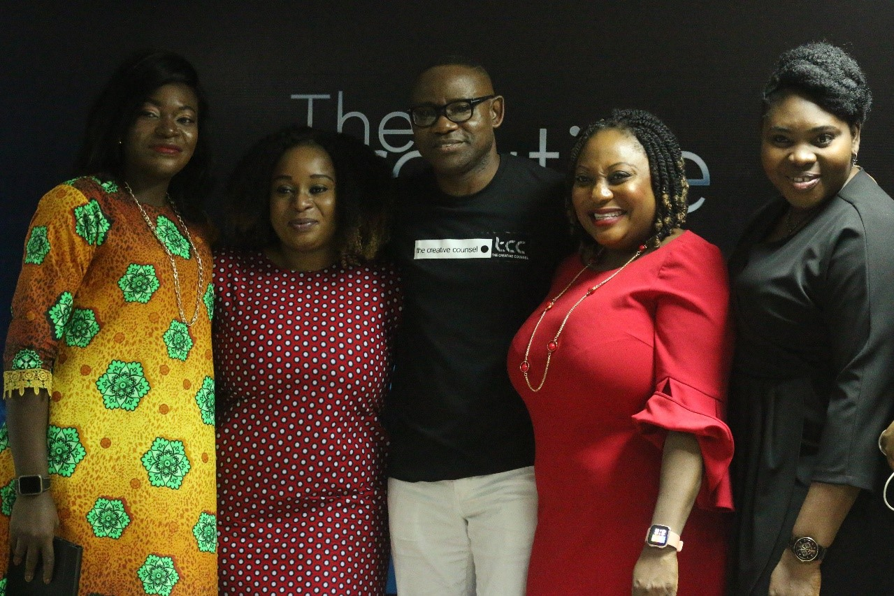 L-R: Agbons Igiewe, General Manager, Ziza Digital; Mayowa Adebayo, Chief Marketing Officer, Wakanow; Joshua Akinbajo, Chief Operating Officer of The Creative Counsel Nigeria; Okenla Christiana, AGM, Customer Experience and Advocacy at ipNX Nigeria Ltd; Dr. Tola Elatuyi, Marketing Manager Innovations at Guinness Nigeria; at the #FutureNow Summit on Experiential Design in the Age of Artificial Intelligence and Augmented Reality organised by The Creative Counsel (TCC) Nigeria, in Lagos recently.