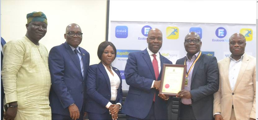 Caption : Registrar/Chief Executive, Chartered Institute of Bankers of Nigeria  (CIBN), 'Seye  Awojobi; 1st Vice President, CIBN,  Bayo Olugbemi; Manager,  Learning and Development, Ecobank Nigeria,  Ayotunde Opeoluwa;  Managing Director, Ecobank Nigeria, Patrick Akinwuntan and 2nd Vice President,  CIBN,  Ken Okpara during the presentation of accreditation certificate to Ecobank Academy in Lagos on Friday.
