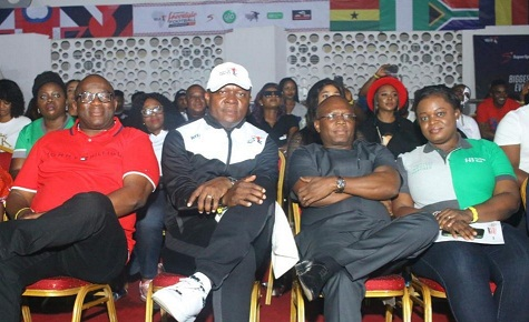 L-R: Dan Akpovwe, Publisher, Abuja Inquirer; Valentine Ozigbo, Chairman of Feet n Tricks Limited; Jude Monye, Executive Director, Heritage Bank Plc and Oluwafunmi Aloku, Head, Product Strategy and Business Solutions, Heritage Bank, during the 3rd edition of African Freestyle Football Competition 2019 in Lagos.