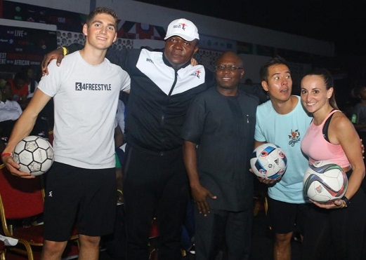 L-R: Erlend Fagerli, Multiple World Champion, Freestyle Football (AFFC Judge); Valentine Ozigbo, Chairman of Feet 'n' Tricks Limited; Jude Monye, Executive Director, Heritage Bank Plc; Philip Gertsson, Sweden-based Norwegian-Filipino Football Freestyle (AFFC Judge) and Laura Biondo, first female freestyle to establish a Guinness World Record (AFFC Judge), during the 3rd edition of African Freestyle Football Competition 2019 in Lagos.