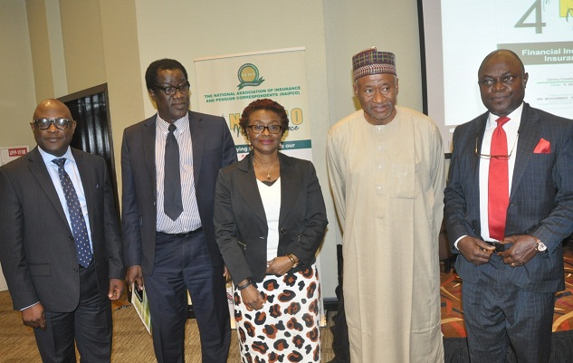 NAP 1 -------- L-R: Mr. Bode Opadogun, Managing Director, FBN General Insurance/representative of Chairman, NIA; Mr. Babatunde Phillips, Head, Benefits, National Pension Commission (PenCom); Mrs Ronke Adedeji, President, Association of Pension Fund Operators of Nigeria; Mohammad Ahmad, former Director General, PenCom, and Mr. Leo Akah, representing the Acting Commissioner for Insurance, during the 4th edition of the National Association of Insurance and Pension Correspondents (NAIPCO) National Conference in Lagos on Thursday.