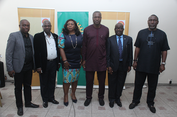 L--R: Senior Research Adviser, Social Performance and Social Investment, The Shell Petroleum Development Company of Nigeria Limited, Kenneth Nweke; Compliance Monitoring Lead, Temitope Ajibade; External Relations Manager, Alice Ajeh; General Manager, External Relations, Igo Weli; Encroachment Management Lead, Ucheoma Amechi; and Right of Way Lead, John Okojie, at a media workshop on pipeline vandalism and encroachment in Port Harcourt …on Monday