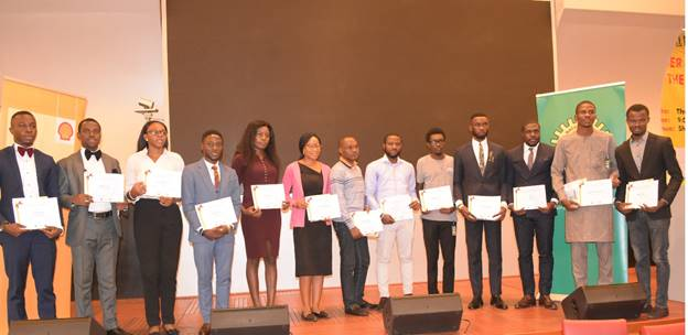 Thirteen beneficiaries of the 2019 Shell Petroleum Development Company Joint Venture overseas postgraduate scholarship for host communities at the award ceremony in Port Harcourt .