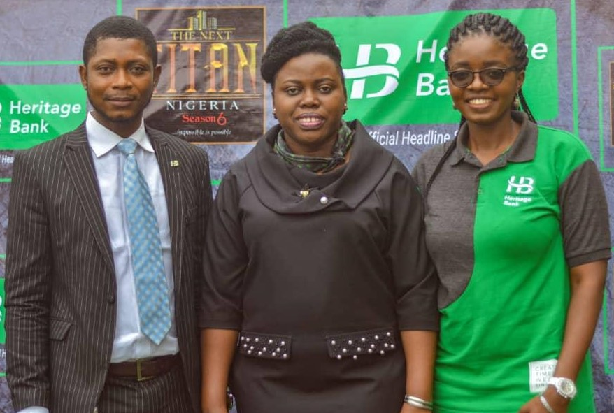 Titan pix 1: L-R: Members of Heritage Bank's Corporate Communications- John Adah, Processing Officer; Ozena Utulu, Head, Brand Management & Sustainability and Daberechi Ike-Obioha, Team Member, Designs & Creatives, during The Next Titan Season-six audition at the Sheba Event Centre in Lagos.