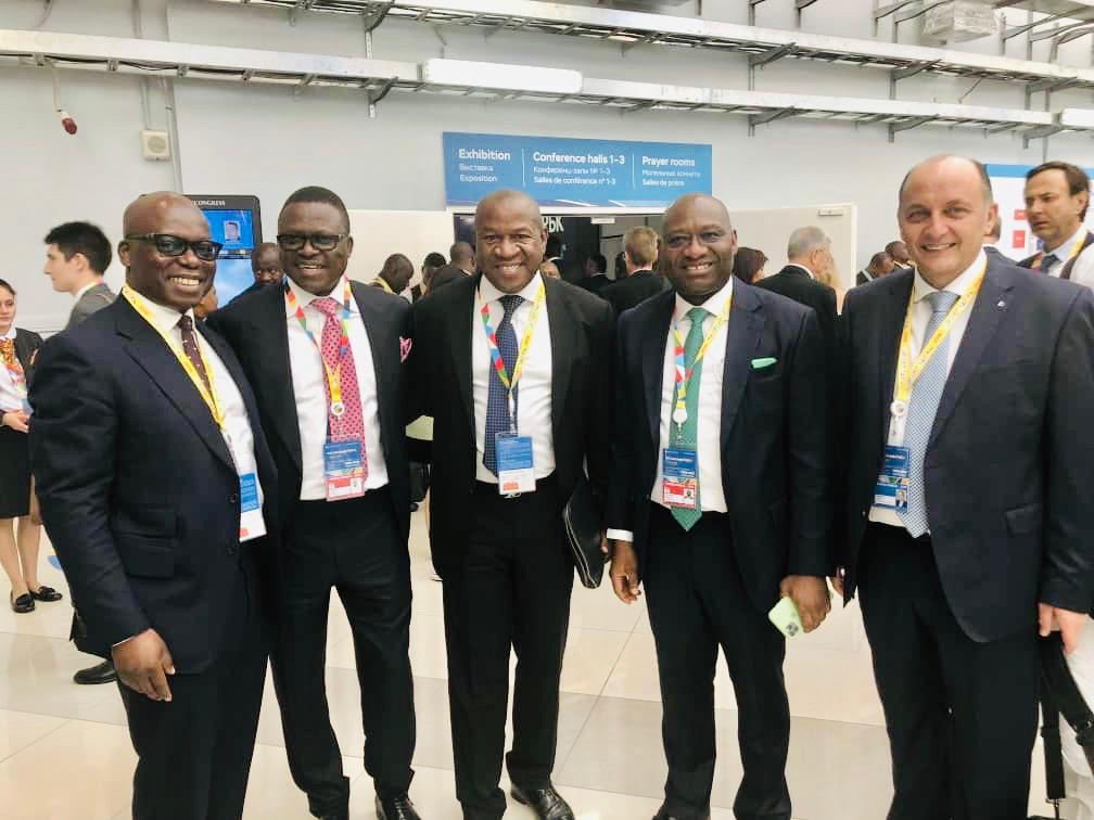 R-L: Wale Tinubu, Group Chief Executive, Oando Plc; Timi Alaibe, Non-Executive Director, Heritage Bank Plc; Chris Oshiafi, Group Managing Director of Pan African Capital Holdings; Ifie Sekibo, MD/CEO, Heritage Bank and Demetrios Halios, President/CEO of Halios Capital, at the ongoing Russian-African Summit in Sochi, Russia, yesterday.