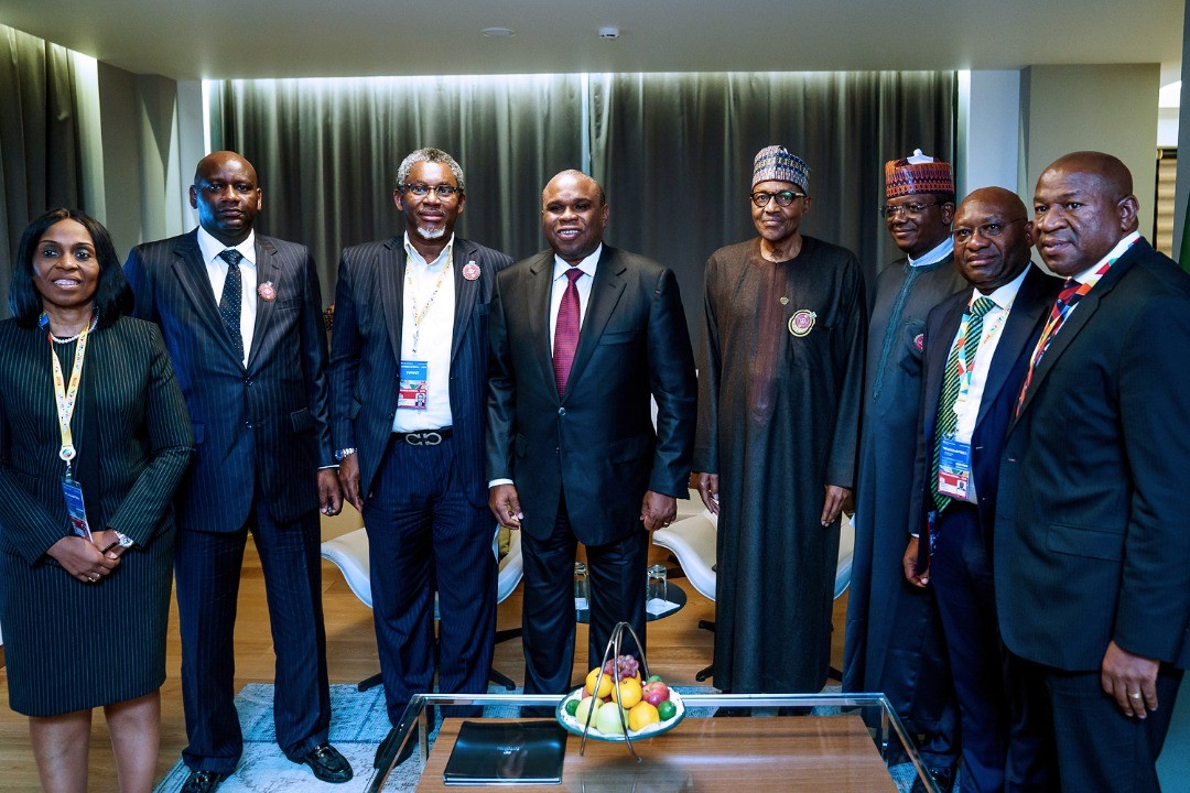 President Muhammadu Buhari (4th right) with Governor of Zamfara State, Bello Muhammad Matawalle (3rd right); Minister of Solid Minerals, Arc. Olamilekan Adegbite (3rd left); President/CEO AfreximBank, Prof. Benedict Oramah (4th left); MD/CEO Heritage Bank Plc, Dr Ifie Sekibo (2nd right); Managing Director, Intra-African Trade Initiative, AfreximBank, Mrs. Kanayo Awani (left); Zamfara State Official, Alhaji Bashir Hadejia (2nd left) and Managing Director,  Pan African Capital, Mr. Chris Oshiafi, during a meeting to brief President Buhari on the Afreximbank cooperation with Zamfara State for Solid Mineral development put together by Heritage Bank and PAC, in Sochi, Russial, weekend.