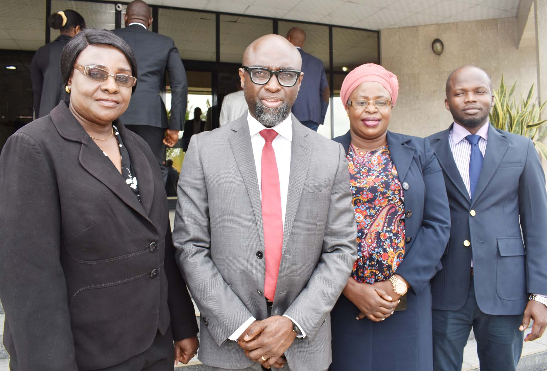GAMBIA and SEC, 1 L-R,   Deputy Permanent Secretary, Ministry of Finance and Economic Affairs The Gambia Mrs Juldeh Ceesay, Principal Manager, International Relations Division, Securities and Exchange Commission, Mr Tony Iloka, Senior Bank Examiner, Central Bank of The Gambia Mrs Mariama Conateh-Gaye and Principal Financial Analyst, Ministry of Finance and Economic AffairsThe Gambia Mr Sulayman Cham during a Meeting between SEC and Ministry of Finance and Economic Affairs The Gambia, in Abuja, Tuesday