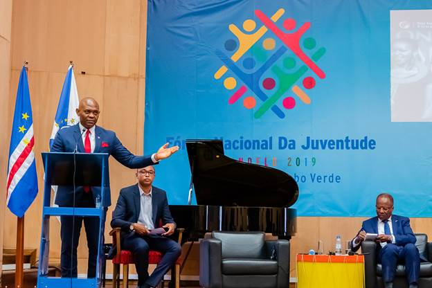 Cape Verde 2: Tony O. Elumelu, Founder, The Tony Elumelu Foundation and Chairman, United Bank for Africa (UBA) addresses entrepreneurs and public sector leaders at the Youth Konnect Forum in Cabo Verde on October 17, 2019.