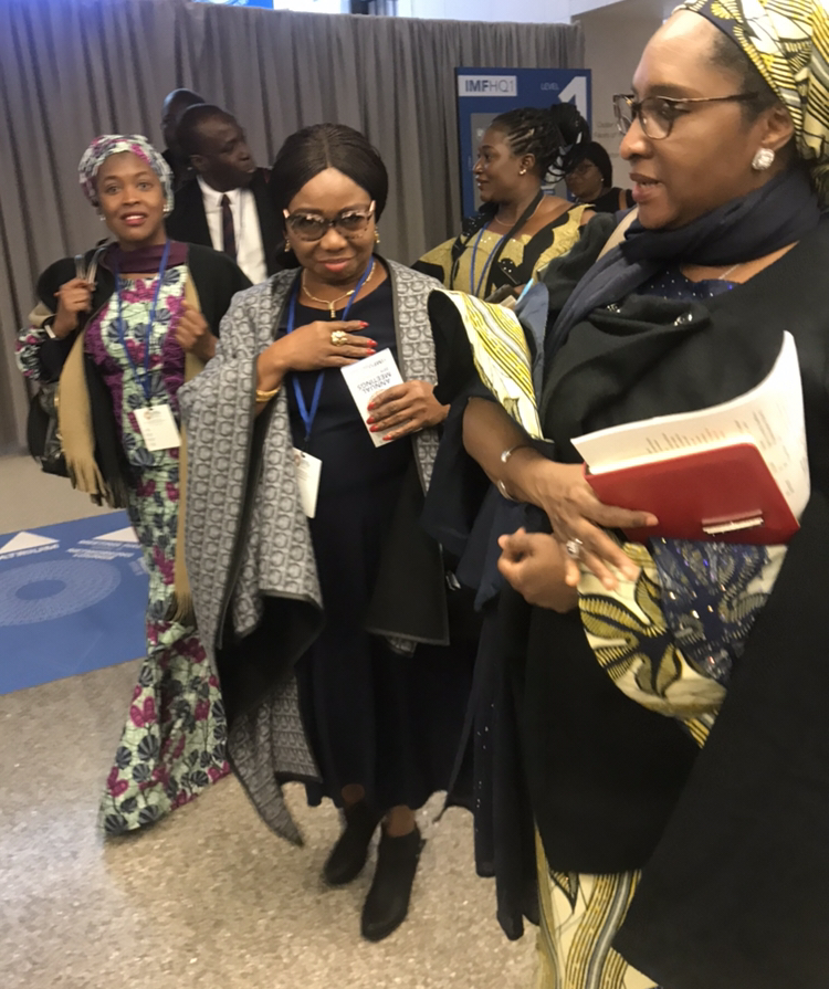 Left to Right: Acting Director General Securities and Exchange commission, SEC, Ms. Mary Uduk and Minister of Finance, Budget and National Planning, Hajia Zainab Ahmed at the on-going World Bank/International Monetary Funds Meeting in Washington DC, Thursday.