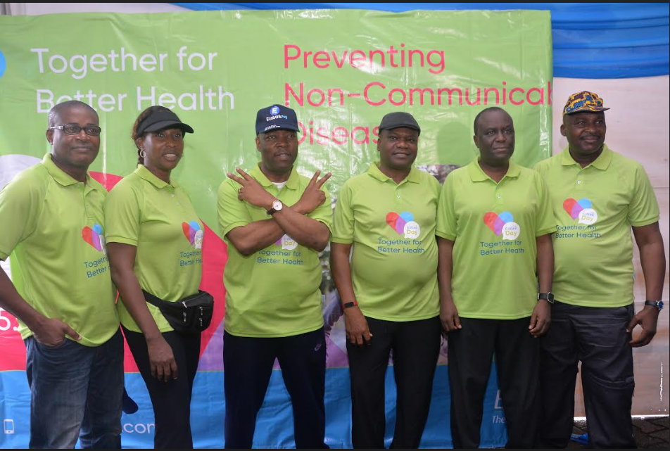 "Chief Risk Officer, Biyi Olagbami; Executive Director, Commercial Banking, Carol Oyedeji; Managing Director, Patrick Akinwuntan; Chief Audit Executive, Felix Igbinosa; Executive Director, Corporate Banking, Akin Dada and Group Head, Operations and Technology, all of Ecobank Nigeria during the bank"" commemoration of  Ecobank Day 2019 in Lagos on Saturday."