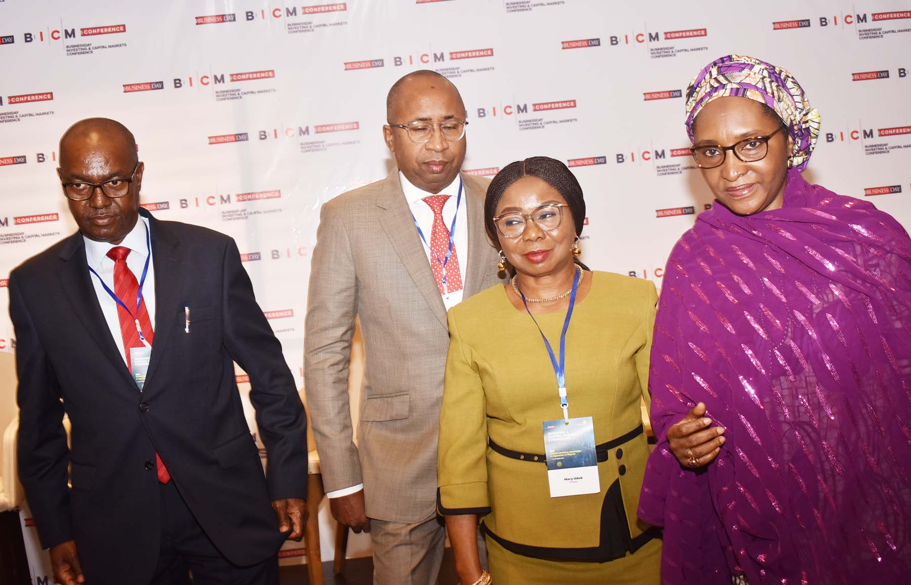L-R,  Head Strategy, AMCON Mr Muhammad Suleiman,  Managing Director, Central Securities Clearing System Mr Jalo Waziri, Acting Director General, Securities and Exchange Commission  Ms Mary Uduk and Minister of Finance Hajia Zainab Ahmed during the Investing and Capital Markets Conference in Abuja, Thursday