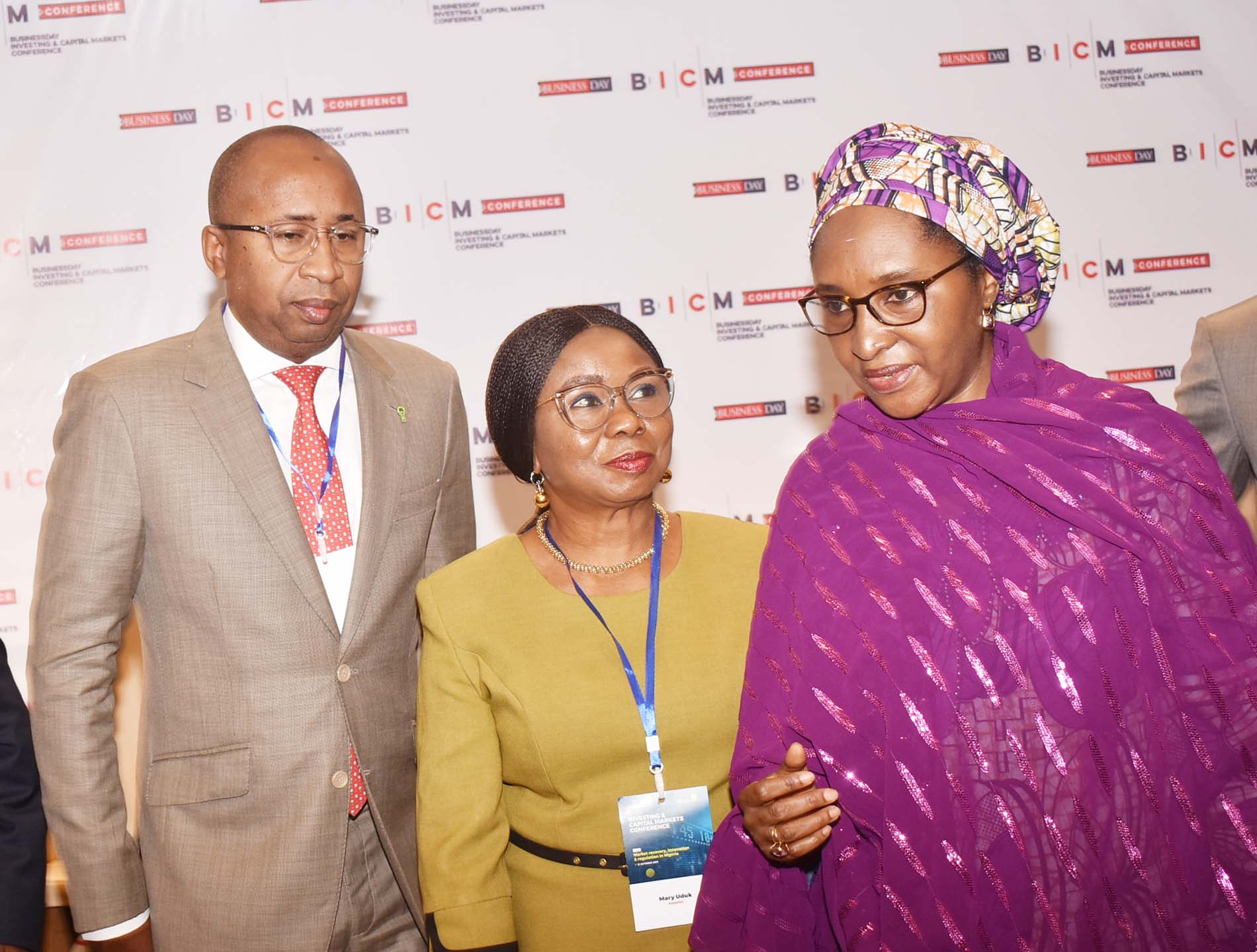 L-R,  Managing Director, Central Securities Clearing System Mr Haruna Jalo-Waziri, Acting Director General, Securities and Exchange Commission  Ms Mary Uduk and Minister of Finance Hajia Zainab Ahmed during the Investing and Capital Markets Conference in Abuja, Thursday