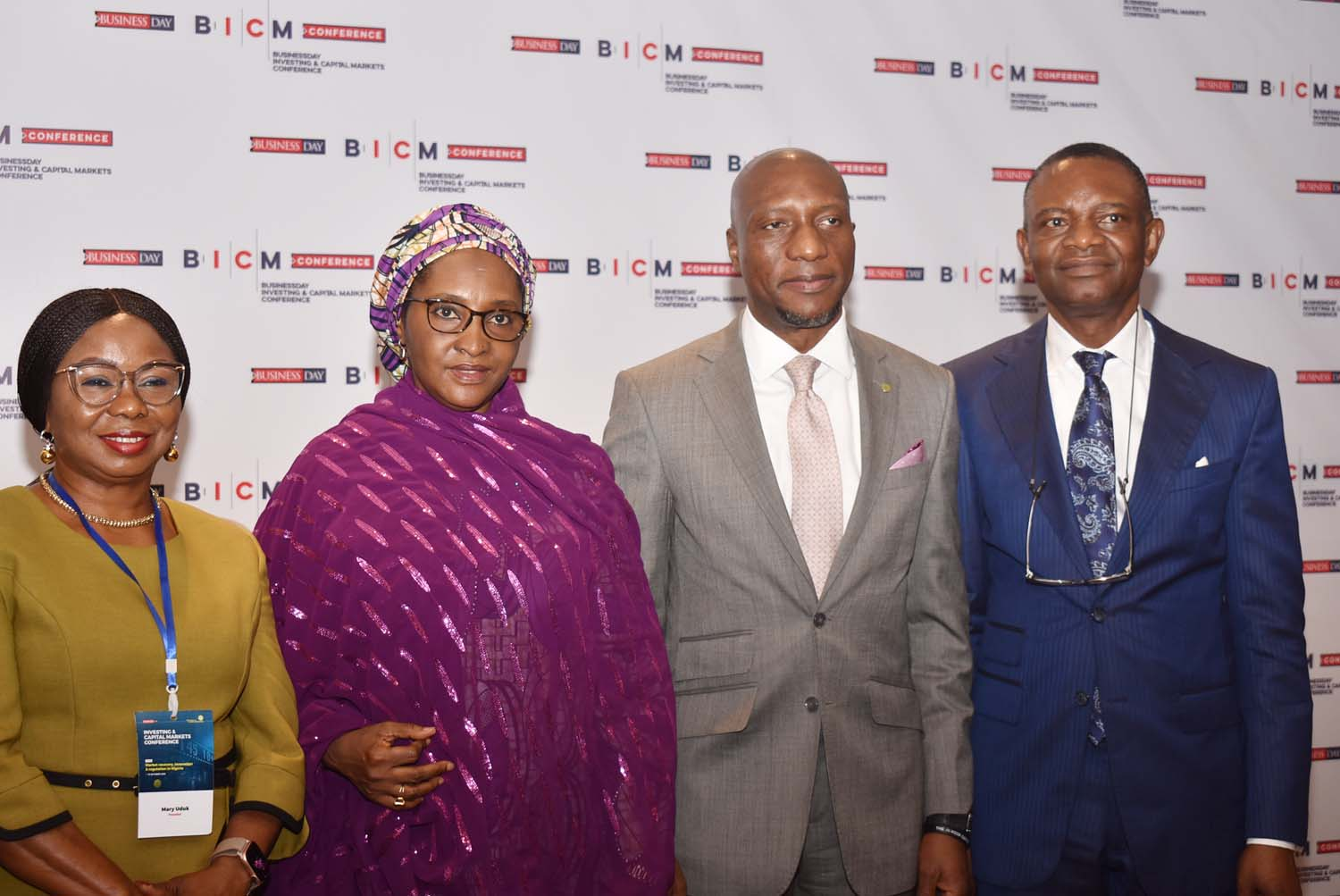 L-R,  Acting Director General, Securities and Exchange Commission  Ms Mary Uduk, Minister of Finance Hajia Zainab Ahmed, CEO Nigerian Stock Exchange Mr Oscar Onyema and Publisher Business Day Media Mr Frank Aigbogun during the Investing and Capital Markets Conference in Abuja, Thursday