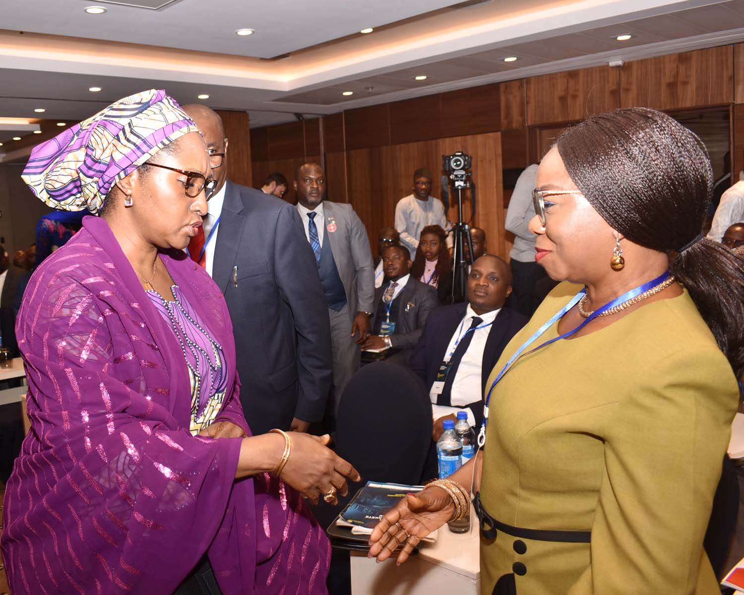 Minister of Finance Hajia Zainab Ahmed  with Acting Director General, Securities and Exchange Commission  Ms Mary Uduk during the Investing and Capital Markets Conference in Abuja, Thursday