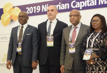 R-L: Acting DG, SEC,Ms Mary Uduk, Vice Chairman, FMDQ, Mr. Jubril Aku, Managing Director, Equity Research Desk, Argentina, Mr Bernardo Mariano and the Managing Director, FMDQ, Mr Bola Onadele Koko at the 2019 Nigeria Capital Markets Conference in Lagos on Thursday