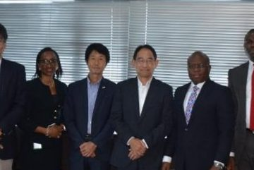 L-R: John Gbassa, CEO/MD of WAO Global Trading Ltd; Koji Shirotani, Divisional Manager, Sub-Sahara Africa Business Development Division; Afolasade Alonge, Divisional Head, Corporate and Specialized Banking, Heritage Bank Plc; Masafumi Tanimoto, General Manager, Accra Liason Office; Tsuyoshi Ueda, Assistant Managing Director; Jude Monye, Executive Director of Heritage Bank; Olugbenga Awe, Divisional Head, Agric Finance & Export and Takuya Yamamoto, General Manager, Middle East & Africa, Sumitomo Corporation, during discussion between the Heritage Bank and Sumitomo Corporation on mechanisation & Agric Business, held at bank's head office, weekend.
