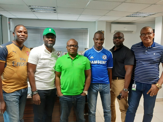 "L-R: Heritage Bank staff- Olugbenga Awe, Divisional Head, Agric Finance & Export; Fela Ibidapo, Divisional Head, Corporate Communications; Jude Monye, Executive Director; Akeem Durotoye, Group Head, Domestic & EBanking Services; Victor Amakwe, Group Head, Private Wealth Mgt and Chukwuma Ivaonye, Head, Head Office & Experience Centre Compliance, during Heritage Bank's celebration of International Men's Day, themed: ""Making a difference for Men and Boys"", at its head quarter, Lagos."