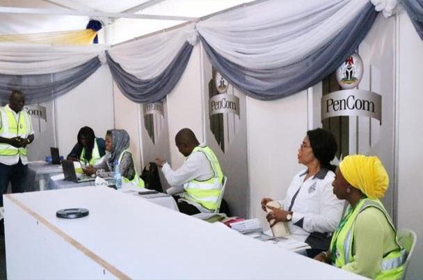 Some PenCom officials at the Lagos International Trade Fair