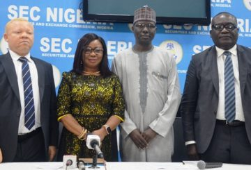 From Left, Acting Executive Commissioner, Legal & Enforcement, Securities and Exchange Commission (SEC), Mr Reginald Karawusa, Acting Director General, Ms Mary Uduk, Acting Executive Commissioner, Operations, Mr Isyaku Tilde and Acting Executive Commissioner Corporate Services, Mr. Edward Okolo during the third Capital Market Committee Meeting Press briefing, in Lagos, weekend