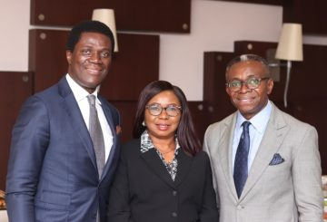 Left to Right: Chairman of tue Board Securities and Exchange Commission, SEC, Mr. Olufemi Lijadu, Acting DG SEC, Ms. Mary Uduk and Mr. Ike Chioke of Afrinvest West Africa Limited at the Breakfast meeting between the Board of the SEC and Capital Market stakeholders in Lagos, Wednesday.