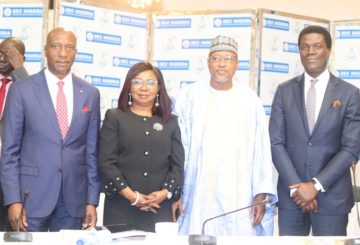 L-R: Chief Executive Officer, Nigerian Stock Exchange, Mr Oscar Oyema; Ag. Director General, Securities and Exchange Commission, Ms Mary Uduk, Chairman House Committee on Capital Market and Institutions, Hon. Babangida Ibrahim; and the Board Chairman, SEC, Mr Olufemi Lijadu at the 3rd Quarter Capital Market Committee, CMC meeting in Lagos, Thursday.