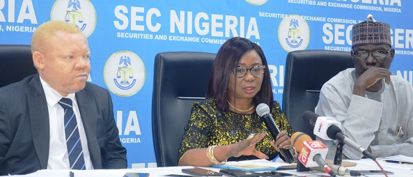 From Left, Acting Executive Commissioner, Legal & Enforcement, Securities and Exchange Commission (SEC), Mr Reginald Karawusa, Acting Director General, Ms Mary Uduk, and Acting Executive Commissioner, Operations, Mr Isyaku Tilde during the third Capital Market Committee Meeting Press briefing, in Lagos, weekend