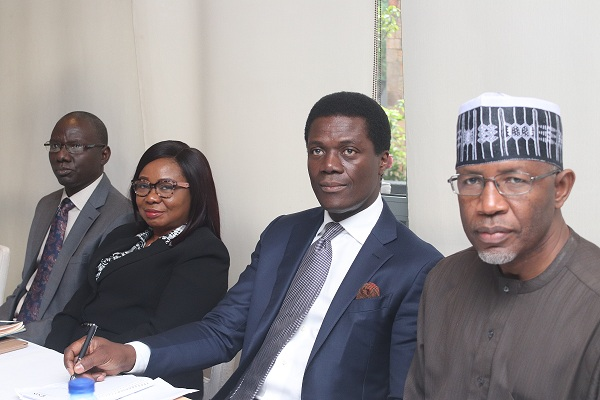 L-R:, Ag. Executive Commissioner Operations Securities and Exchange Commission Isyaku Tilde; Ag. Director General SEC, Mary Uduk,; Chairman SEC Board, Olufemi Lijadu, and Non-Executive Commissioner Lamido Yuguda, at the Breakfast meeting between the Board of the SEC and Capital Market stakeholders in Lagos, Wednesday.