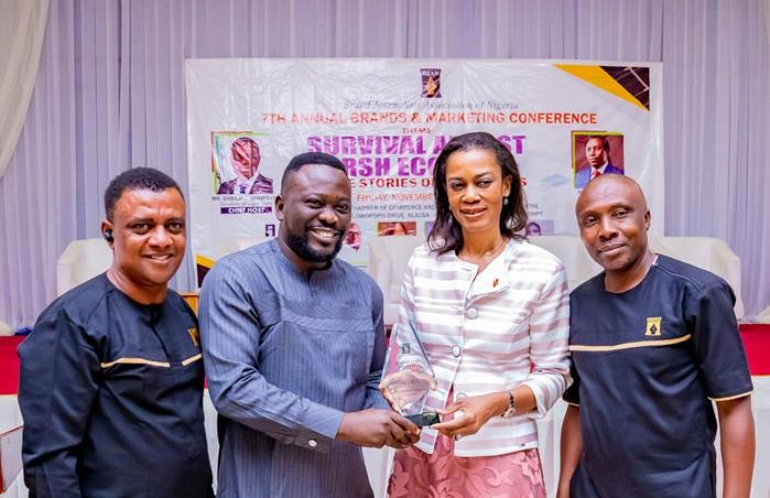 l-r: Former President, Brand Journalists' Association of Nigeria, Mr Goddie Ofose; General Manager, Allianz Media, Adeyemi Adeshina; Chief Executive Officer; UBA Foundation & Group Head, Corporate Communications, United Bank for Africa, Mrs. Bola Atta and President Brand Journalist Association of Nigeria, Mr. Princewill Ekwujuru during award presentation to UBA as the best institution in support of Education(CSR) 2019 and Bola Atta, the Top Corporate Affairs professional 2019 at the 7th Annual Brands & Marketing Conference 2019 in Lagos, recently