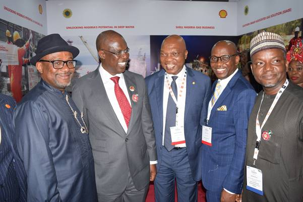 L-R: Executive Secretary, Nigeria Content Development and Monitoring Board, Simbi Wabote; Minister of State for Petroleum Resources, Timipre Sylva; Managing Director, Shell Petroleum Development Company and Country Chair, Shell Companies in Nigeria, Osagie Okunbor; Managing Director, Nigeria Liquefied Natural Gas, Tony Attah; and Shell Nigeria's General Manager, Business and Government Relations, Bashir Bello, at the Shell exhibition booth during the opening session of the 2019 Practical Nigeria Content Forum in Yenagoa… on Tuesday.