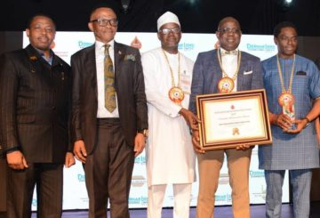 L-R: Chief Operating Officer for Gas and Power, Nigerian National Petroleum Corporation,Yusuf Usman; Chairman, Petroleum Technologies Association of Nigeria (PETAN), Bank-Anthony Okoroafor; General Manager, Business and Government Relations, The Shell Petroleum Development Company of Nigeria Limited (SPDC), Bashir Bello; Managing Director, Shell Nigeria Exploration and Production Company, Bayo Ojulari; and Shell's General Manager, Nigeria Content Development, Olanrewaju Olawuyi, at the 2019 PETAN Oil Industry Award Ceremony in Lagos last Friday where Shell won the Industry Achievements Prize… on Friday.