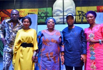 From left: Laitan Adeniji (Fela); Bolanle Austen Peters (Director Fela's Republic And The Kalakuta Queens); Laide Babayale (Fela's Original Dancer And Queen), Patrick Akinwuntan, Managing Director, Ecobank Nigeria Limited; Omolara Sosanya (Fela's Original Dancer And Queen) at the presentation of the stage play 'Fela Republic & the Kalakuta Queen' at the Terra Kulture, Victoria Island, Lagos on Saturday