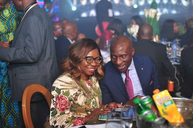 Left to Right: Acting Director General, Securities and Exchange Commission, Ms. Mary Uduk and Chief Executive Officer, Nigerian Stock Exchange, Mr. Oscar Onyema during the 54th Bankers Dinner held in Lagos, Weekend