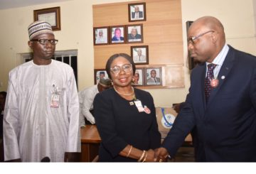 SEC and ICPC, 1A,2,1B , 1C L-R, Acting Executive Commissioner, Operations, Securities and Exchange Commission Mr Isyaku Tilde, Acting Director General SEC Ms Mary Uduk and Chairman, Independent Corrupt Practices and other Related Offences Commission Prof Bolaji Owasanoye during a Meeting between SEC and ICPC in Abuja, Wednesday