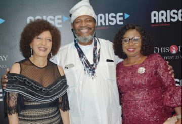 LEFT to Right: Publisher, Guardian Newspaper, Lady Maiden Alex-Ibru, Publisher Thisday Newspaper Mr. Nduka Obaigbena and Acting Director General Securities and Exchange Commission, Ms. Mary Uduk at the Thisday Awards 2020 in Lagos, Monday