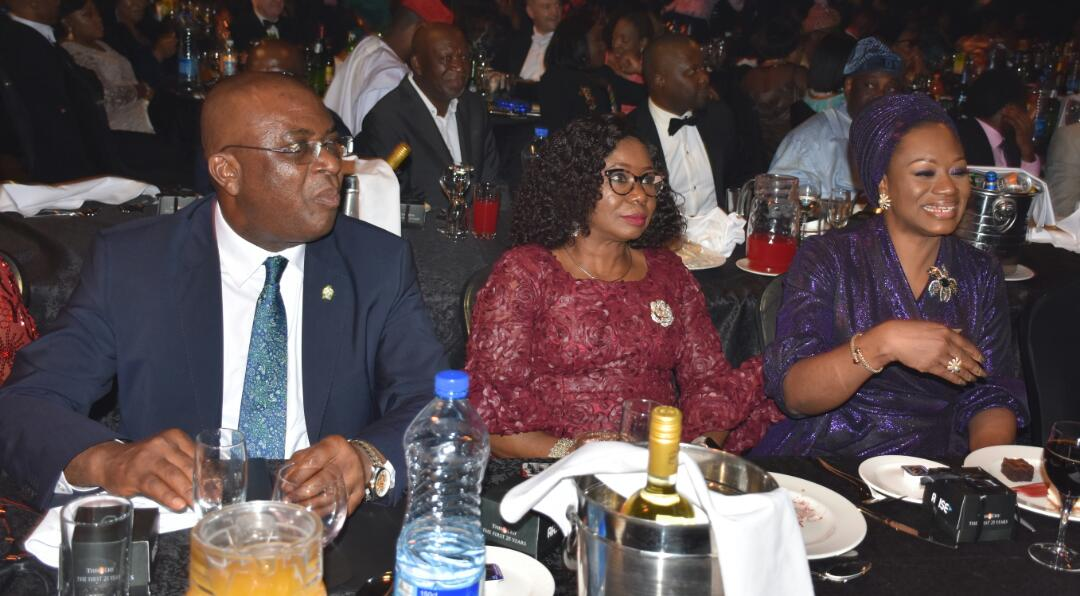 Director Corporate Communications Central Bank of Nigeria, Mr. Isaac Okoroafor, Acting Director General Securities and Exchange Commission, Ms. Mary Uduk and Deputy Governor Monetary Policy CBN, Mrs Aisha Ahmad at the Thisday Awards 2020 in Lagos, Monday